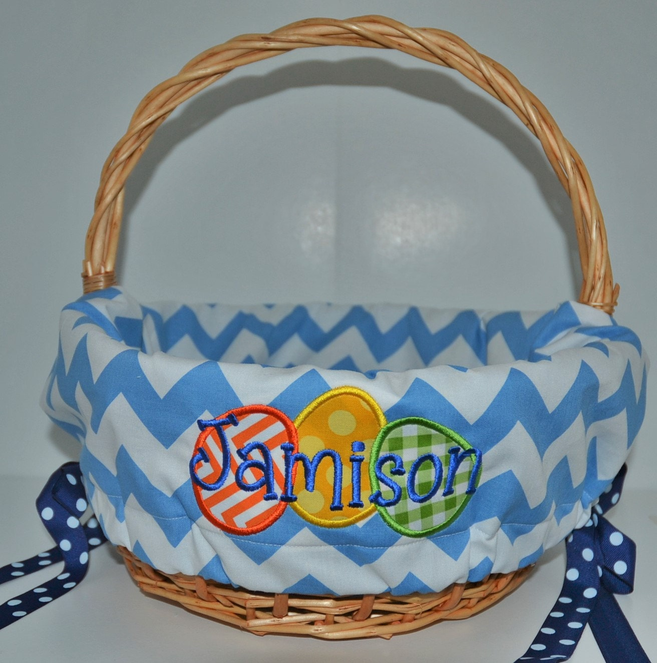 Personalized Easter Baskets With Personalized Basket Liner For