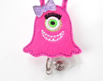 Mia the Monster - Retractable ID Badge Reel - Name Badge Holder - Nursing Badge - Nurse Badge Holder - Nursing Badge Clip - Teacher Badge