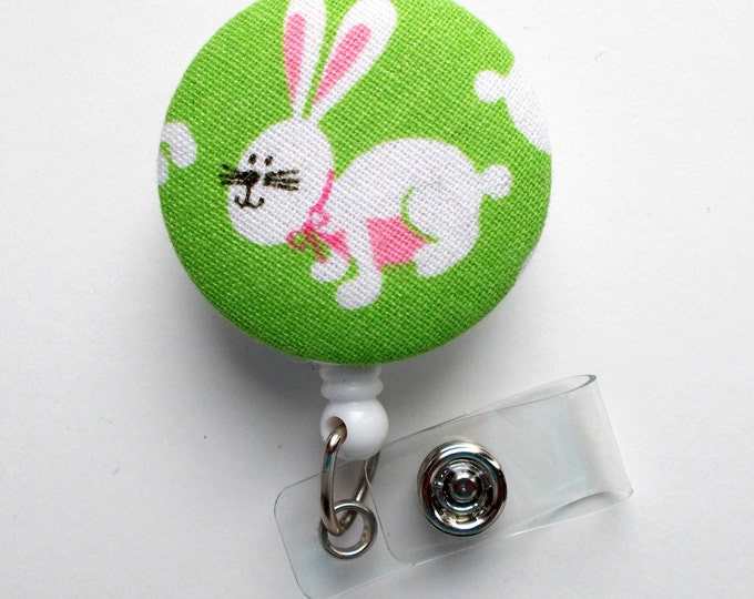 Easter Bunny Fabric Button - Nurse Badge Holder - Easter Badge Reel - Teacher Badge - Cute Badge Reel - Hospital Badge - Nursing Badge
