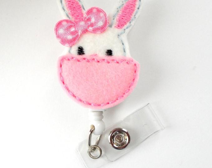 Peek-A-Boo Bunny - Retractable ID Felt Badge Holder - Pediatric Badge Reel - Nurses Badge Holder - Nurse Badge - Teacher Badge - NP Badge