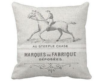 Pillow Cover Horse Decor Grain Sack Style Steeplechase Horse Equestrian Pillow