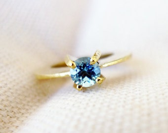 Solitaire. Blue Topaz Engagement Ring. Handmade 14K Unique Gold Ring. Set with Blue Topaz. Statement Solitaire Ring. Cocktail Ring. Recycled