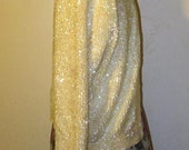 Vtg 60s Champagne Cashmere Fully Hand Sequined Aurora Borealis Sequins Silk Satin Lined Formal Cardigan Sweater 42 Bust