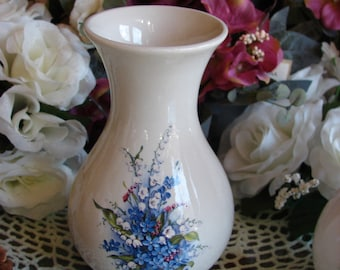 Ceramic Vase Adorned with a Forget Me Not Bouquet