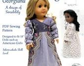 "Georgiana 1812 Regency Sewing Pattern by Dollhouse Designs for 18"" American Girl Dolls PDF  DIGITAL DOWNLOAD"