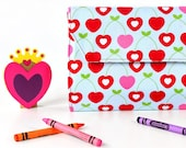 Cherry Hearts Deluxe Crayon Wallet with option to add a name, Crayon organizer, Art wallet, Crayon keeper, Art kit, Valentines gift for kids