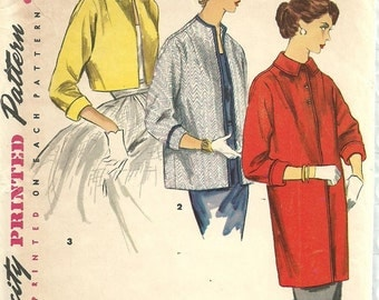 Simplicity 1451 / Vintage 50s Sewing Pattern / Jacket Coat / Size 14 Bust 32