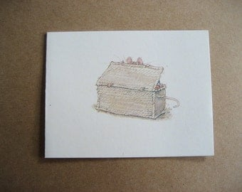 2 Brambly Hedge Gift Cards Jill Barklem Mouse Looking in a Big Basket 1982