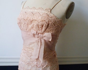 Vintage 1950's Powder Puff Pink Lace Cupcake Cocktail Party Wiggle Dress