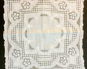 Exquisite Vintage 1940's 11 x 11 Madeira Linen Bridal Hankie AMAZING Embroidery and Openwork