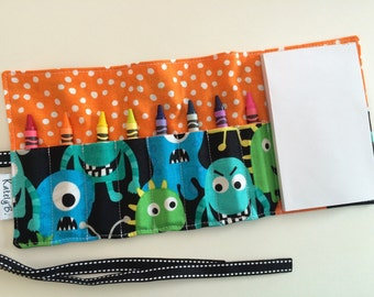 Crayon Roll Up - Holder - Organizer with Pad & Crayons - Playful Monsters Orange