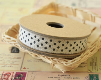 rustic natural BLACK Polka Dot Linen blend ribbon