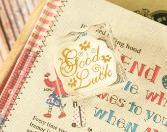 GOOD LUCK Square Acrylic Crystal Stamp message rubber stamp