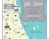 Custom Wedding Map Save the Date - 100 4x6 Postcard Prints (same design but choose your city/location)