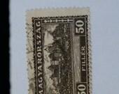 Used 1927 Magyarorszag Black 50 Filler Stamp, Palace of Buda, Hungary