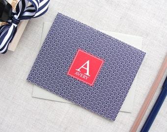 Monogram Stationery   Japanese Ocean Wave Pattern   Set of 10 Folded Note Cards   Personalize Stationery   Custom Stationery