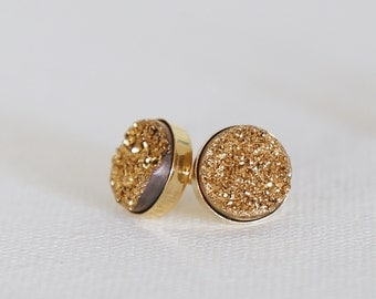 Sparkling GOLD Natural Druzy Stud Earrings - Gold or Sterling Silver