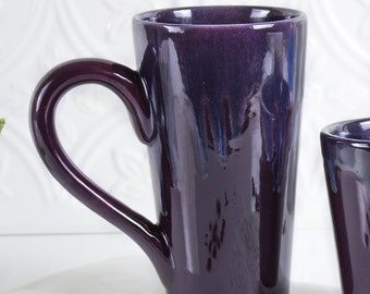 Ceramic Coffee mug, BlueRoomPottery Colorful Eggplant Purple tall tea cup handmade pottery Kitchen gift for him / her
