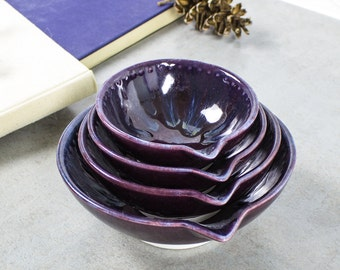 Set of 4 Eggplant Purple Ceramic Measuring Cup, Stoneware Nesting Prep Bowls, Kitchen Hostess Gifts, Serving Handmade Pottery Ready to Ship