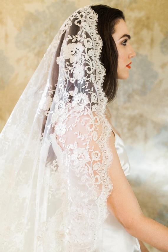 Blossom Veil - Mantilla Veil - All Lace Veil - Bridal Veil - Wedding Veil