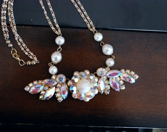 Boho chic bridal reconstructed jewelry vintage aurora borealis pendant necklace