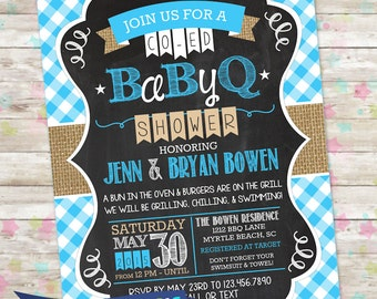 BBQ Baby Shower Invite, BabyQ Shower, Printable Baby Shower Invite, Grilling Chilling Swimming Invite, Backyard Baby Shower, Baby Boy