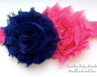 Pink and Royal Blue Baby Headband...Newborn Headband...Hot Pink and Royal Blue Headband...Shabby Rose Headband...Baby Flower Headband