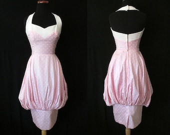 "CLEARANCE Amazing 1950's ""Lilli Diamond"" Designer Pink Polka Dot Halter Bubble Dress Rockabilly VLV Pinup Vixen Size-Small"