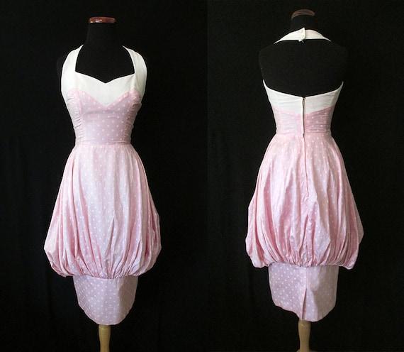 "CLEARANCE Amazing 1950's ""Lilli Diamond"" Designer Pink Polka Dot Halter Bubble Dress Rockabilly VLV Pinup Vixen Size-Small"