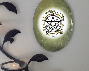 Swirling Leaves Pentacle, Oval Tile Wall Hanging