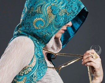 LAST ONE: The Gypsy Sparkle Hooded Vest in Teal Blue Gold Baroque by Opal Moon Designs (XS or S)