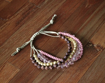 Beaded Wax Cord Bracelet - pink, crystal, wood, gold - adjustable