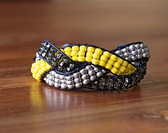 Beaded and Braided wrap bracelet - Yellow, silver, black