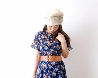Caramel rose, light navy blue vintage dress, Japan, small