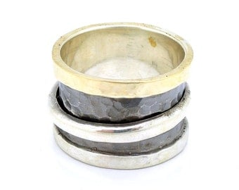 Wide spinner ring with silver & gold