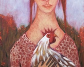 Folk art painting portrait woman with chicken acrylic figurative expressionist original on canvas