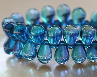 9x6mm  Glass Teardrop Beads - Jewelry Making Supply - Czech Glass Beads - 6x9mm Tear Drop Beads Two Tone Blue Azure/Aqua (60 pieces)