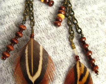 Feather Earrings Medium Dangle Earrings Gift for Her Mom Gift Statement Earrings Brown Boho Earrings Bohemian Earrings for Her