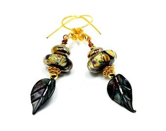 Black Raku Lampwork Bead Earrings. Artisan Glass Headpins. Elegant Glass Bead Jewelry. Gifts for Women.