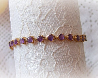 Vintage Amethyst Heart Tennis Bracelet in 14k Gold