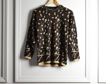 Sweater / Leopard Print Metallic Gold / Avant Garde Glamour Chic / 90s Vintage / Extra Small xs Small S