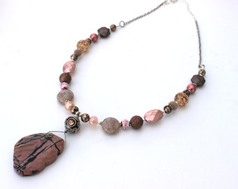 Pink Necklace, Christmas Gift, Jewelry