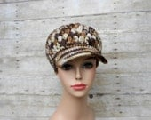 Adult/Teen Ladies Small Crochet Newsboy Hat, Women's Girl's Brown/Cream Billed Cap, Trendy Winter Wear Accessory, Christmas Gift