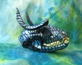 Dragon Coon PAINTED RACCOON SKULL with Scale Design and Bone Horns, Black with Iridescent Scaley Pattern Home Decor, Real Animal Skulls