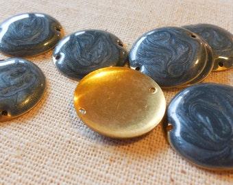 Irridescent Seafoam Blue Enamelled Brass Disc Connectors (9) 20mm, Boho, Minimalist, Nature