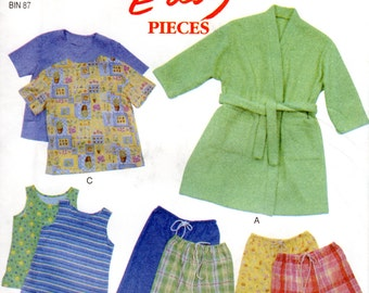 Children's Robe & Pajamas Pattern - New Look 6931 - Size 3 to 8 Easy to Sew UNCUT FF