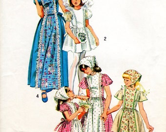 1970s Girls' Peasant Dress - Vintage Pattern Simplicity 6242 - Size 12