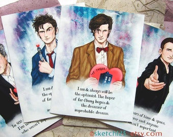 Doctor Who Fanart cards with custom envelope