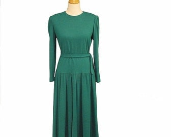Vintage 80s Lanz Originals Emerald Green Wool Blend Dropped Waist Dress, Sz Med 10