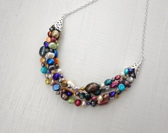 Large bib necklace colorful statement necklace freshwater pearls rainbow